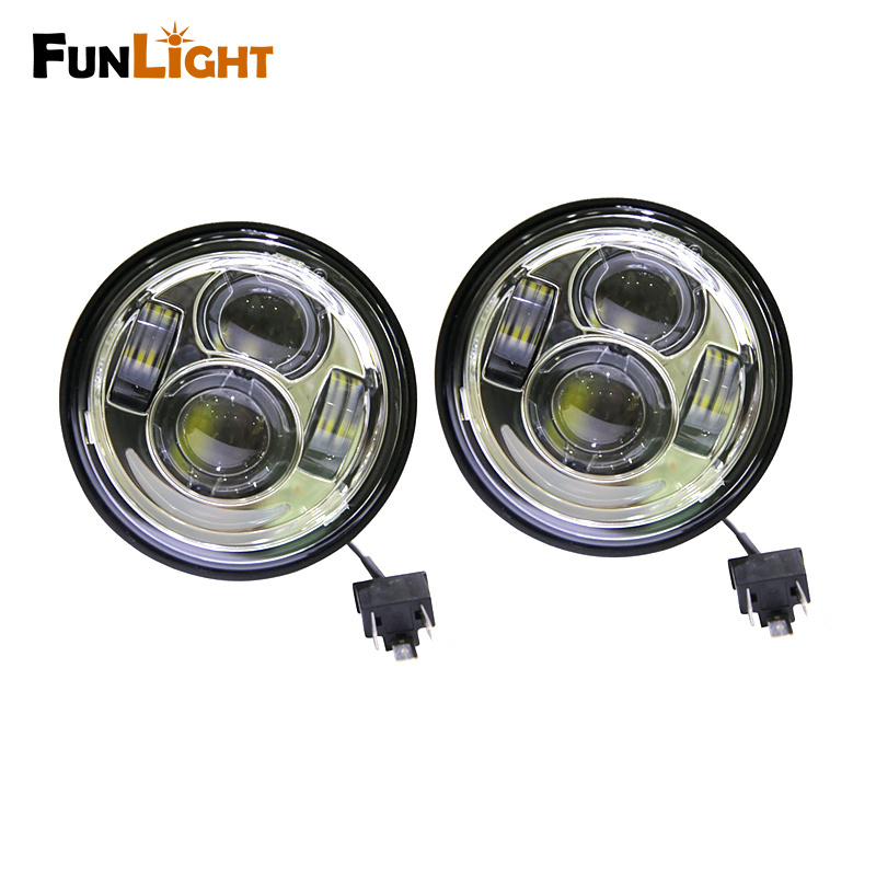 """Wholesale Dyna Led - Chrome 4.65"""" Dual Motorcycle Daymaker Projector LED Headlight with DRL For Harley Dyna Fat Bob FXDF Daymaker Headlamp"""