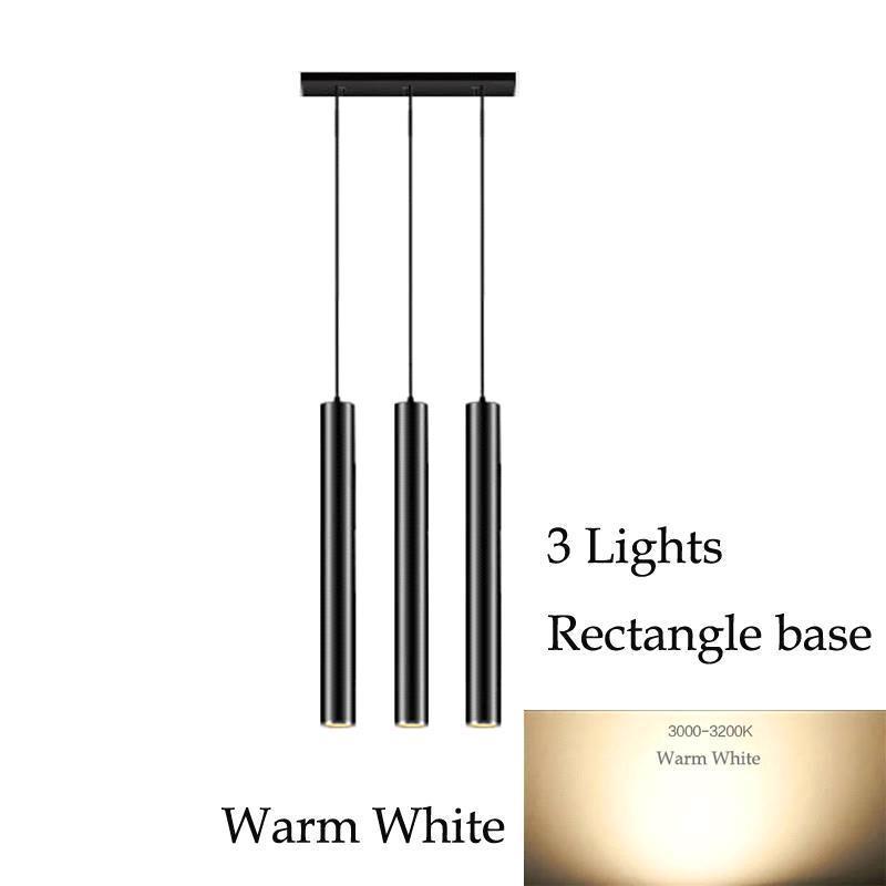 3 luces (luz blanca cálida) de base rectangular
