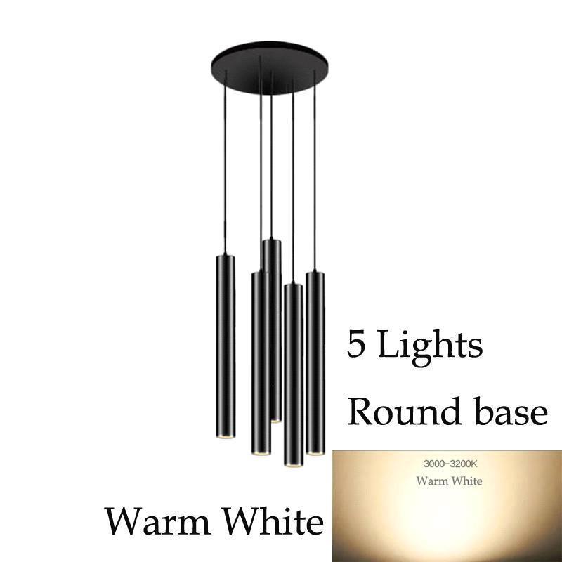 5 luces (luz blanca cálida) Base redonda