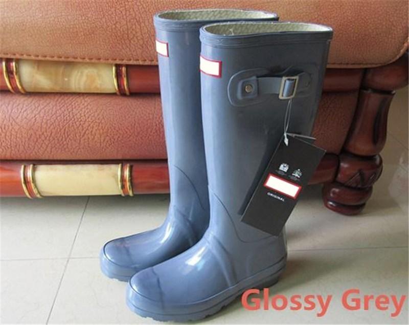 Wholesale Glossy Blue - Womens Rainshoes Wellies Wellingtons Wellington Rain Boot Welly Waterproof Knee Boots Rainboots Rain Boots Glossy Matte Shoes Galoshes