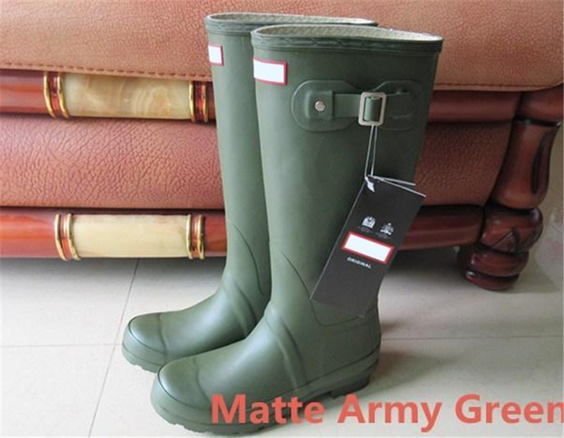 Wholesale Wedge Army Boots - Womens Rainshoes Wellies Wellingtons Wellington Rain Boot Welly Waterproof Knee Boots Rainboots Rain Boots Matte Army Green Shoes Galoshes