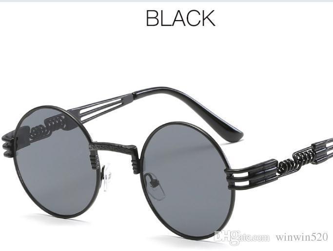 블랙 프레임 회색 거울 렌즈