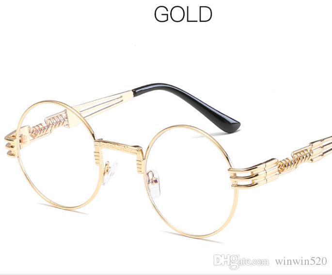 황금 프레임 투명 렌즈
