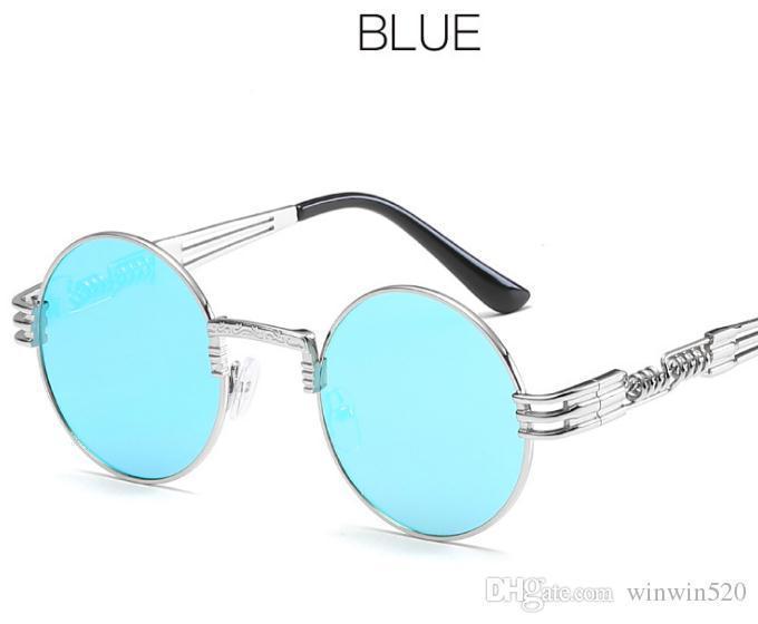 실버 프레임 파란색 미러 렌즈