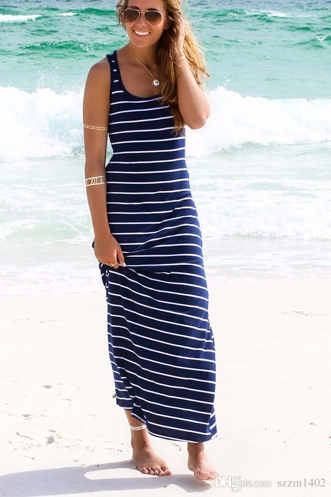 الأزرق الداكن فستان ماكسي مخطط