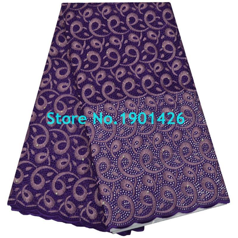 Wholesale purple voile african lace - Dark Purple Cotton Fabrics High Quality African Swiss Voile Lace With Stones Swiss voile lace For Nigerian Wedding XY41644
