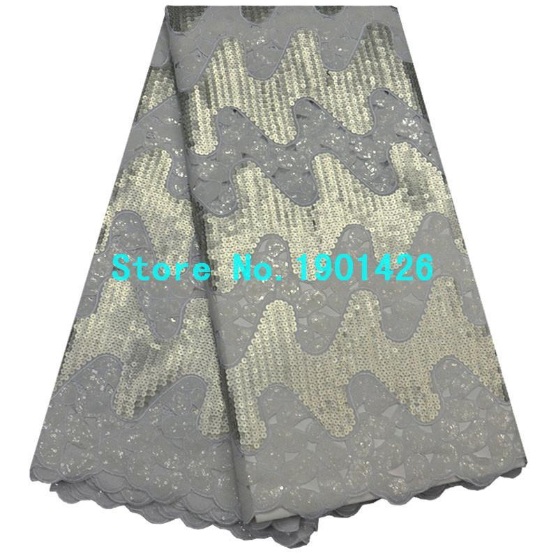 Wholesale net swiss voile lace - White organza net fabrics  african high quality organza lace for wedding  swiss voile lace with sequins 5yards lot XY3716