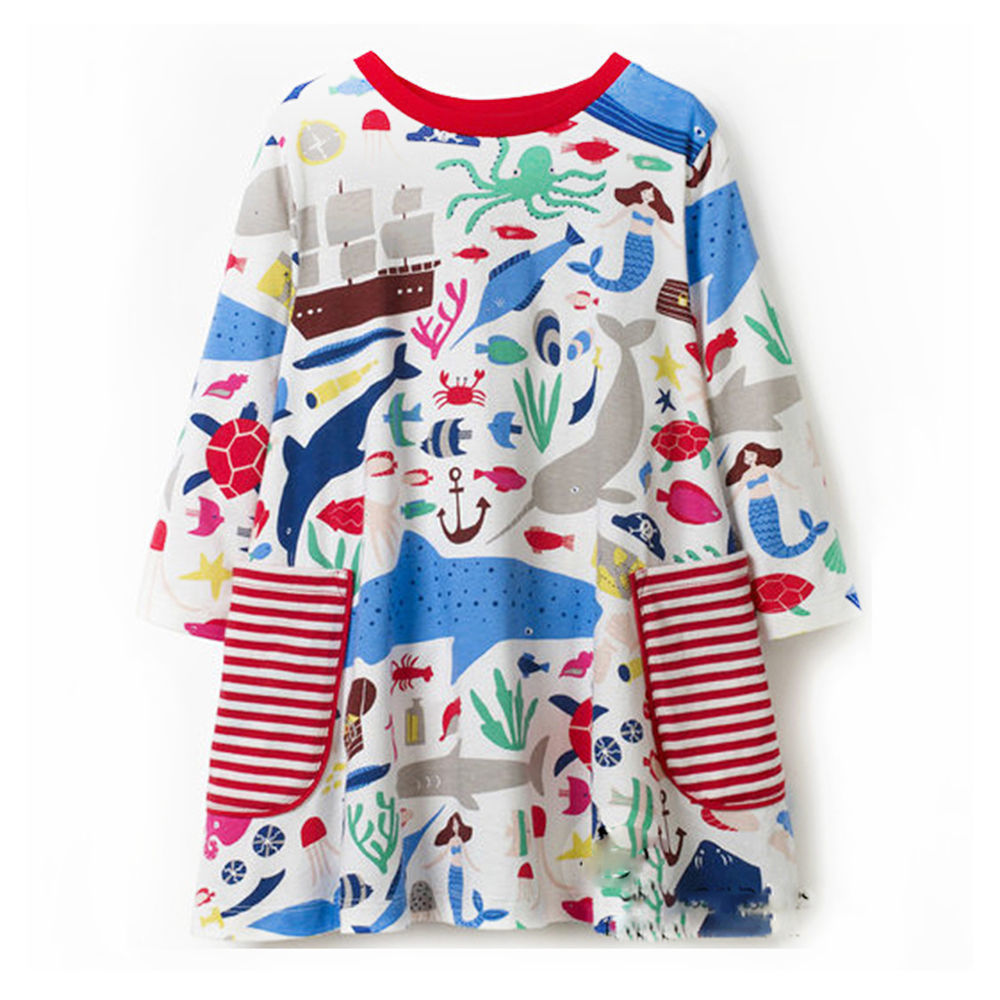 Wholesale metallic costume dress - Jumping Meters Sea Animal Autumn Princess Dress 2018 Brand New Kids Dresses Baby Girls Clothes Long Sleeve Children Costume