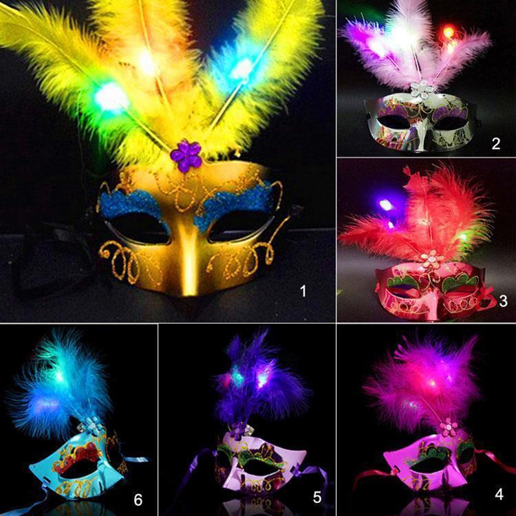 Masque de plumes LED mixte1-6