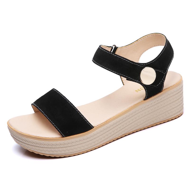 sandalias de tacón bajo cuñas al por mayor-Xemonale Suede Leather Strap Sandals Shoes Sandals Female Alpargatas wedge Mujeres Low Heels Sandals Gladiador