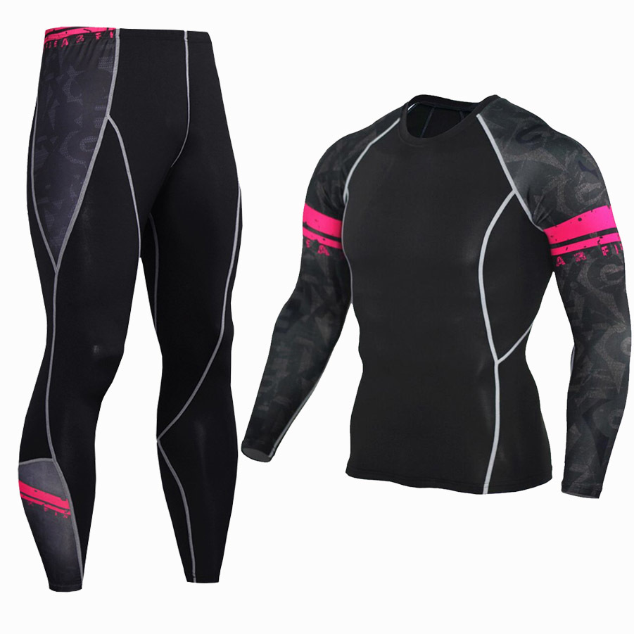 tight jogging pants UK - Compression Sports Set Long Sleeve Pants 2pcs suit Gym Fitness Bodybuilding Run MMA Sportswear Fast Dry Tight Jogging Clothes Y1890402