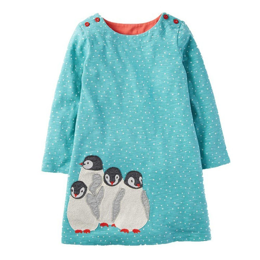 Jumping Meters Girls Dresses Dots Blue Penguins Appliques 2018 Autumn Baby Girl  Clothes Kids Long Sleeve Dress Princess Costume 4e5d9a3a43ac