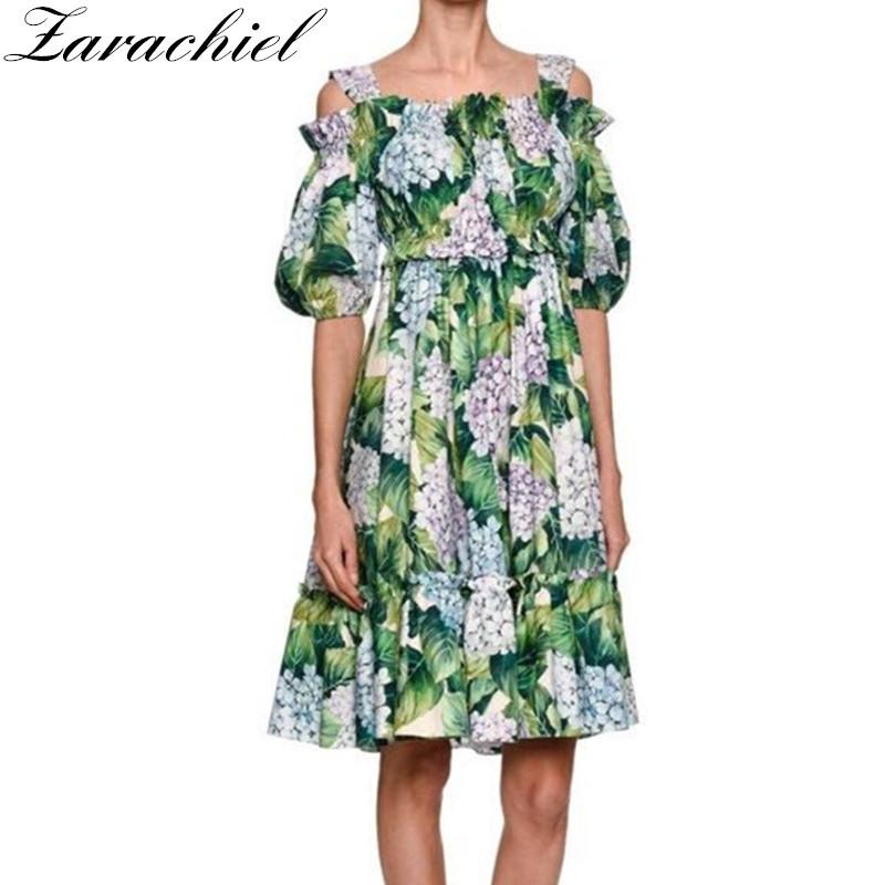 b5957e0a60 2019 New 2018 Runway Hydrangea Floral Summer Dress Women S Cold Cut ...