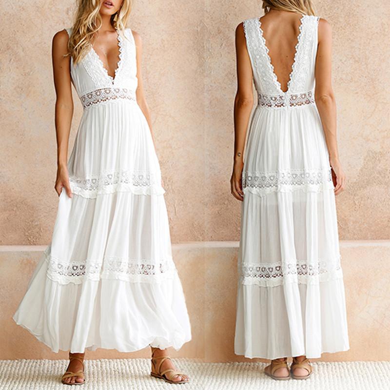 Deep V Elegante pizzo bianco Sexy Dress Women Backless scava fuori abiti  lunghi Maxi estate Abbigliamento femminile S M L XL Y1890702 5d5a8c862a8