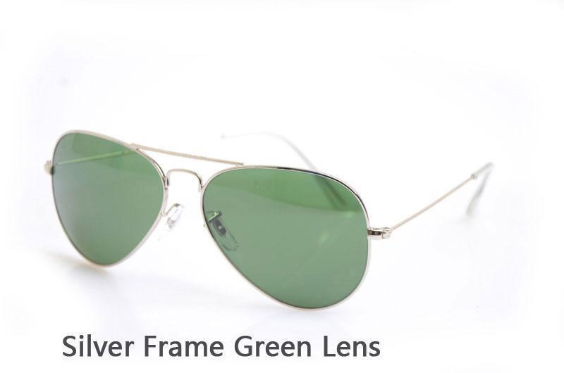 Silver Frame Green Lens