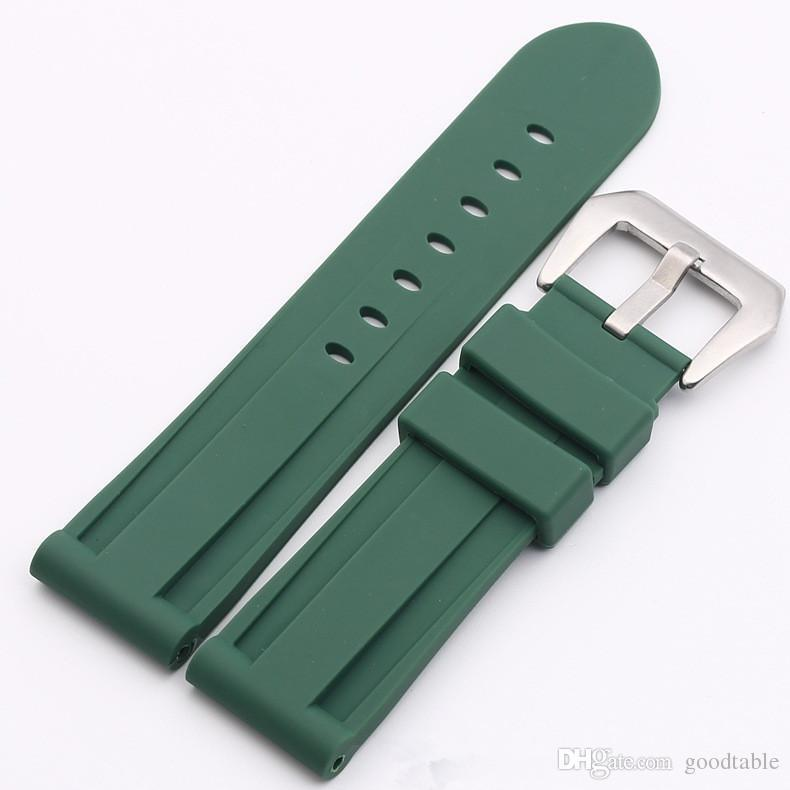 24 mm green with silver buckle