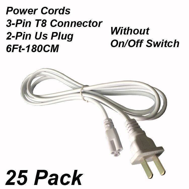Cables de alimentación de 2 pines y 6 pies sin interruptor