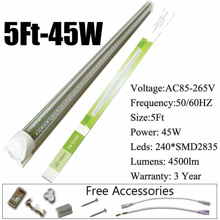 5Ft 45W V-Shaped Clear Cover