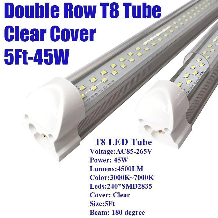 5Ft 45W Double Row Clear Cover