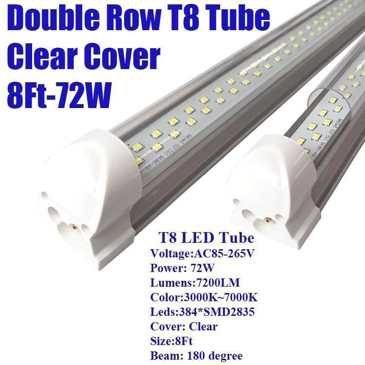 8Ft 72W Double Row Clear Cover