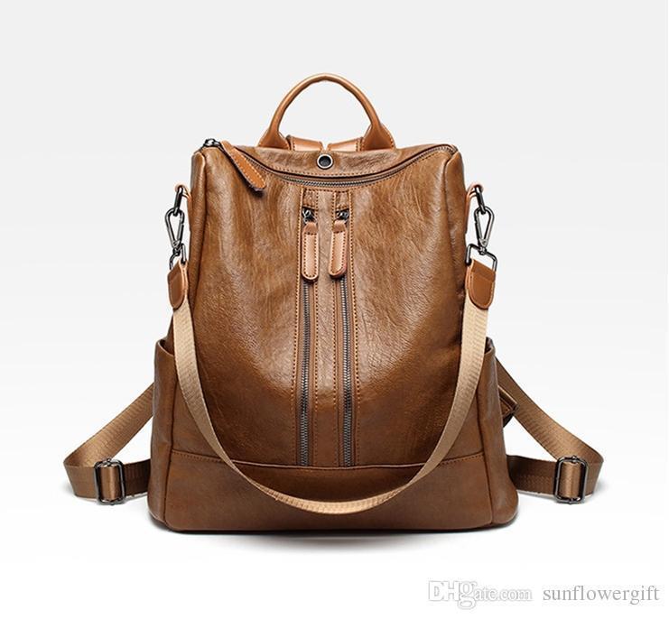 Brown-double zipper