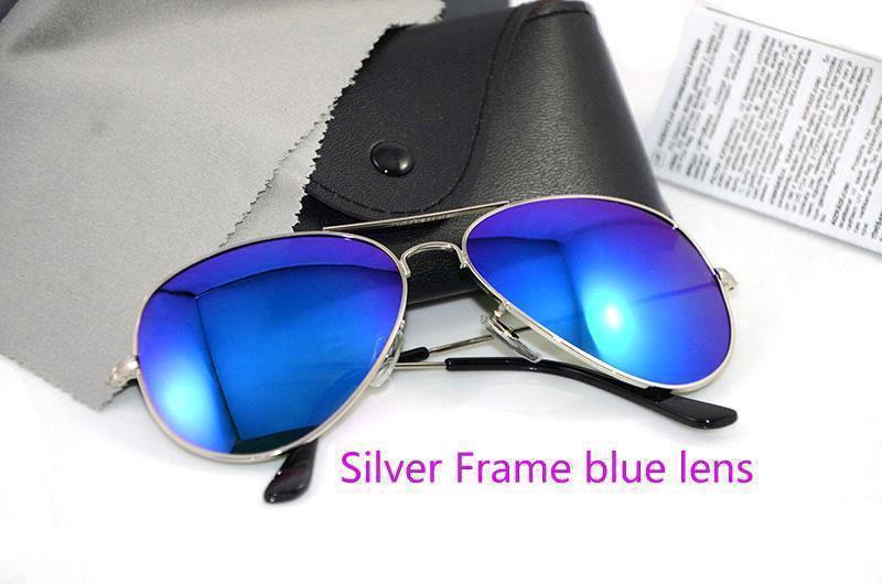 الإطار الفضة عدسة زرقاء