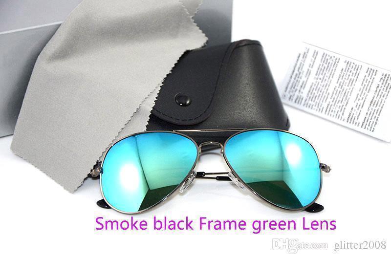 دخان أسود إطار أخضر لنس