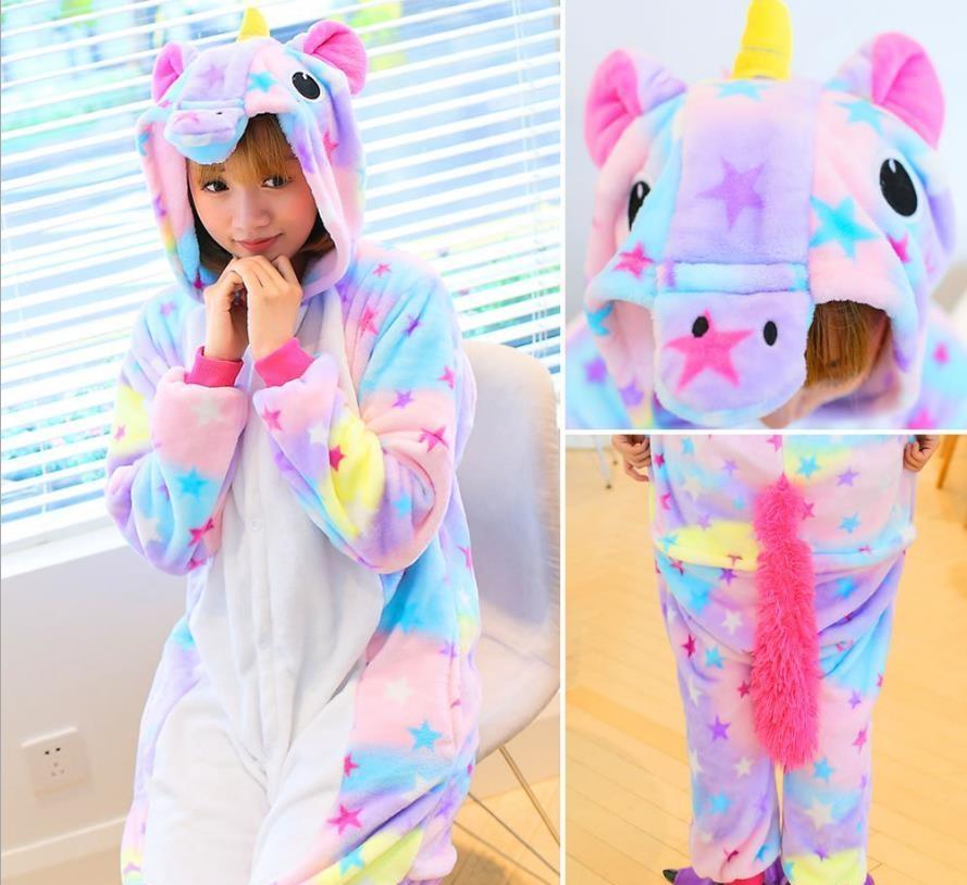 Wholesale Rainbow Unicorn Pikachu Stitch Unisex Flannel Hoodie Pajamas Costume Cosplay Animal Onesies Sleepwear Men Women Adults