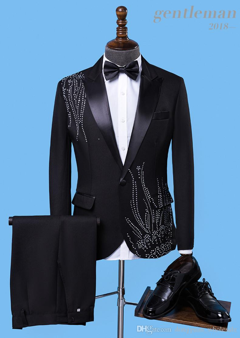 jacket+tie+pants Tide male Adult costume Sparkly Diamond Men Suit Bar Singer Prom Chorus Wedding master of ceremonies costume