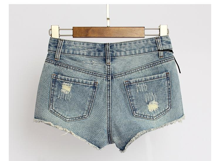 New Style Women Rivet Denim Shorts Ladies Sexy Night Club Shorts Skinny Ripped Mini Jeans Pants Summer Bottoms BSF0369
