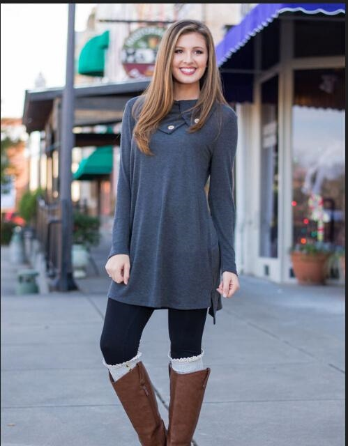 Dresses for Women Clothes Fashion 2017 Long Sleeve Autumn Casual Loose lapel T-Shirt Plus Size Dress
