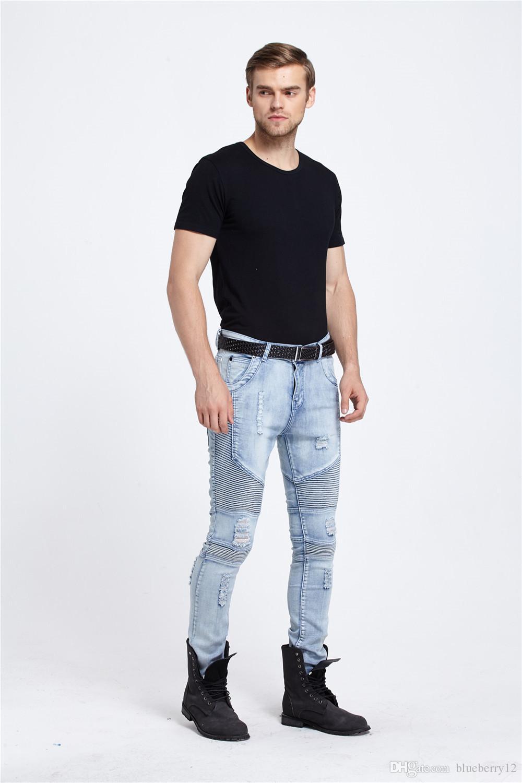 Fashion Male Biker Jeans Destroyed Denim Pant Fabric Elastic Slim Fit Washed Denim Skinny Pants Suit for Men Joggers