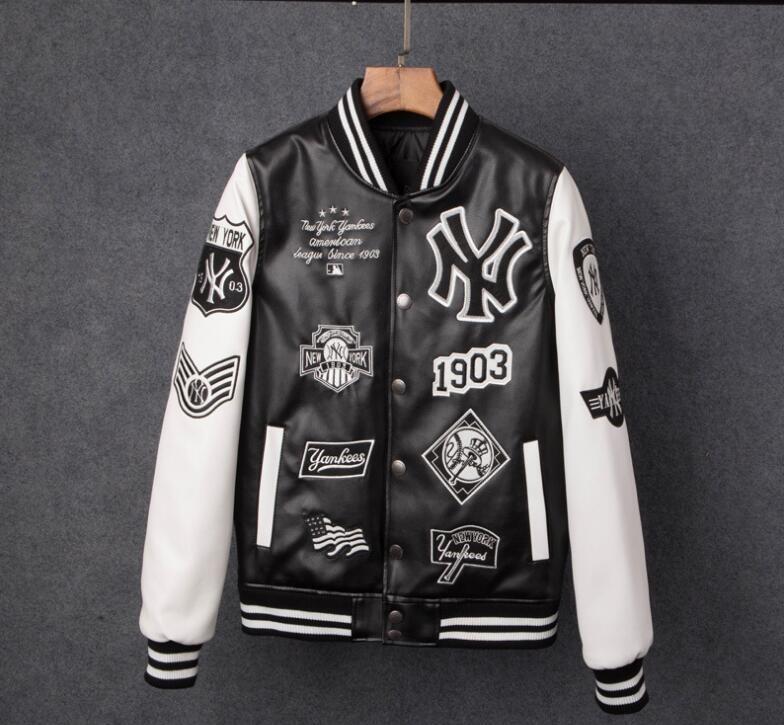 Men jackets Brand Caual Mens new york pu coat Fashion Hip Hop embroidery baseball NY jacket Sweatshirts