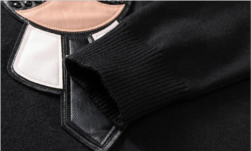 brand designer monster sweater men leather curs knitwear winter warm sweater pullover cardigan slim fit cashmere sweater men D30