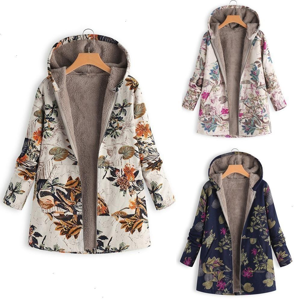 Ladies Jacket Women Jackets Coats Cotton Winter Jacket Womens Outwear Coat Floral Print Hooded Pockets Polyester Vintage Oversize Coats Black Leather