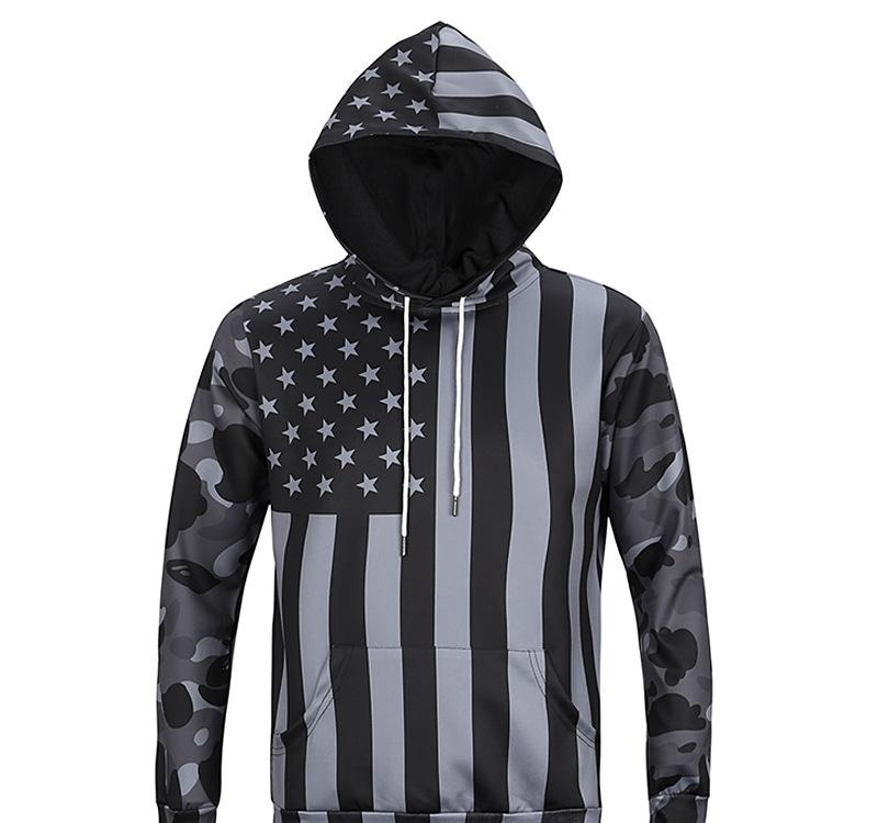 Mens Hip Mop Hoodie Sweatshirt Sweater Fall Fashion Casual Hoodies US Flag 3D Digital Printing Slim Camouflage Hooded Sweater