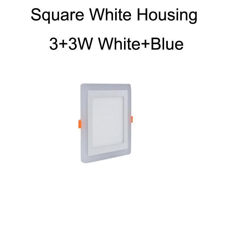 Cuadrado blanco Vivienda 3 + 3W blanco + azul