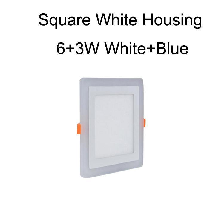 Cuadrado blanco carcasa 6 + 3W blanco + azul