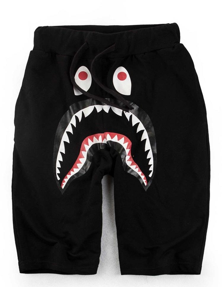 Summer Men`s Shark Pants Shorts Cotton Black Gray Causal Shorts Men Casual Camouflage Skateboard Short Pants Loose Streetwear