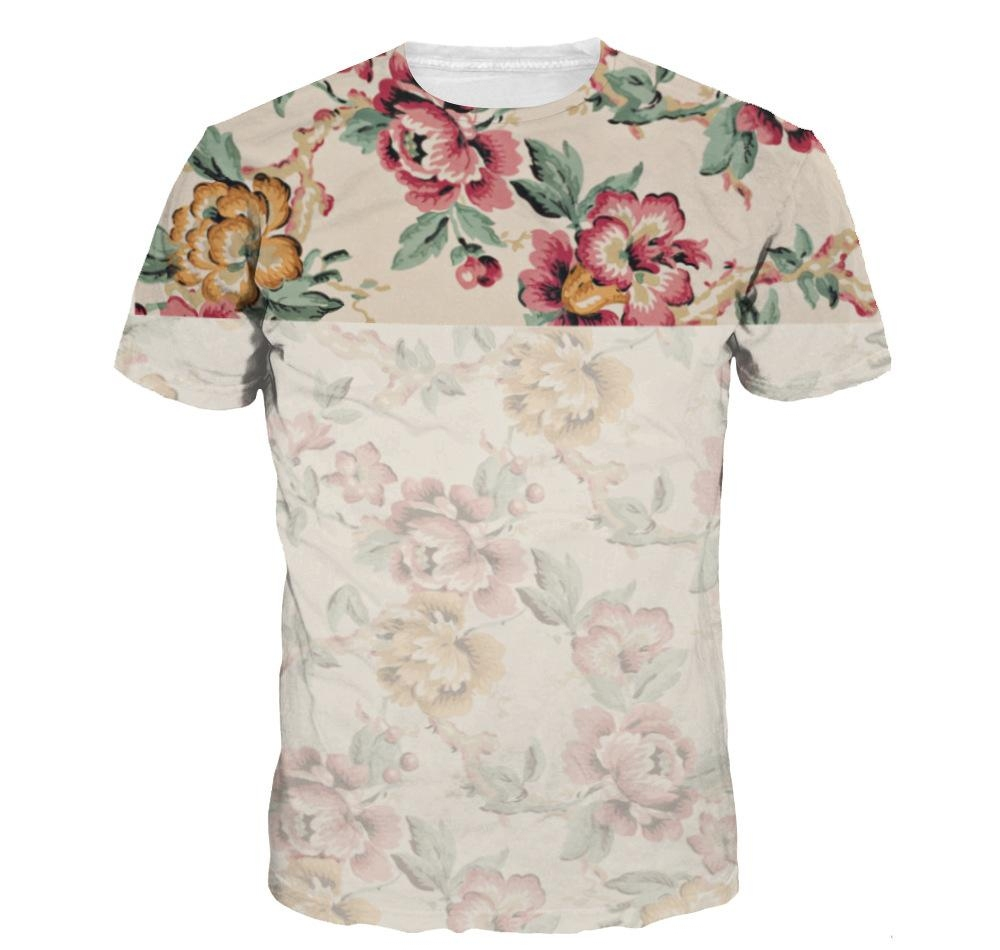 Wholesale Summer 3D Wolf /Flower Printed T shirt Casual Cotton Animal Tee Shirt For Women Men