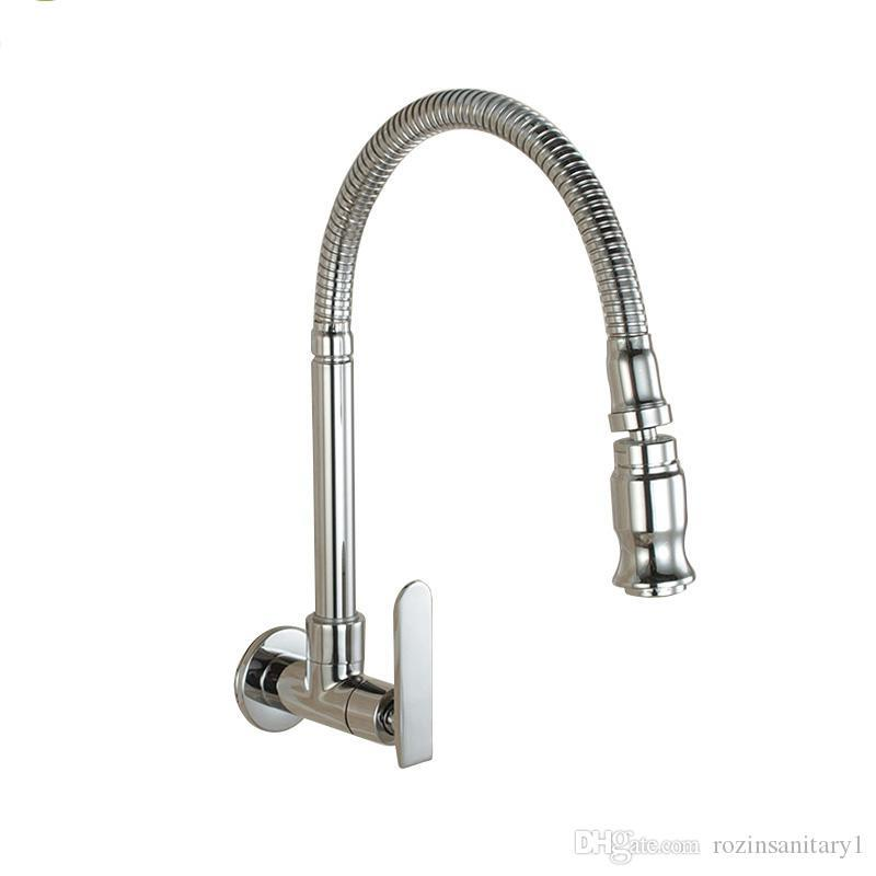 2019 Wall Mounted Sprayer Kitchen Faucet Cold Water Faucet Single Handle  Chrome Flexible Hose Kitchen Mixer Taps Single Holes From Lv006, $62.45 |  ...