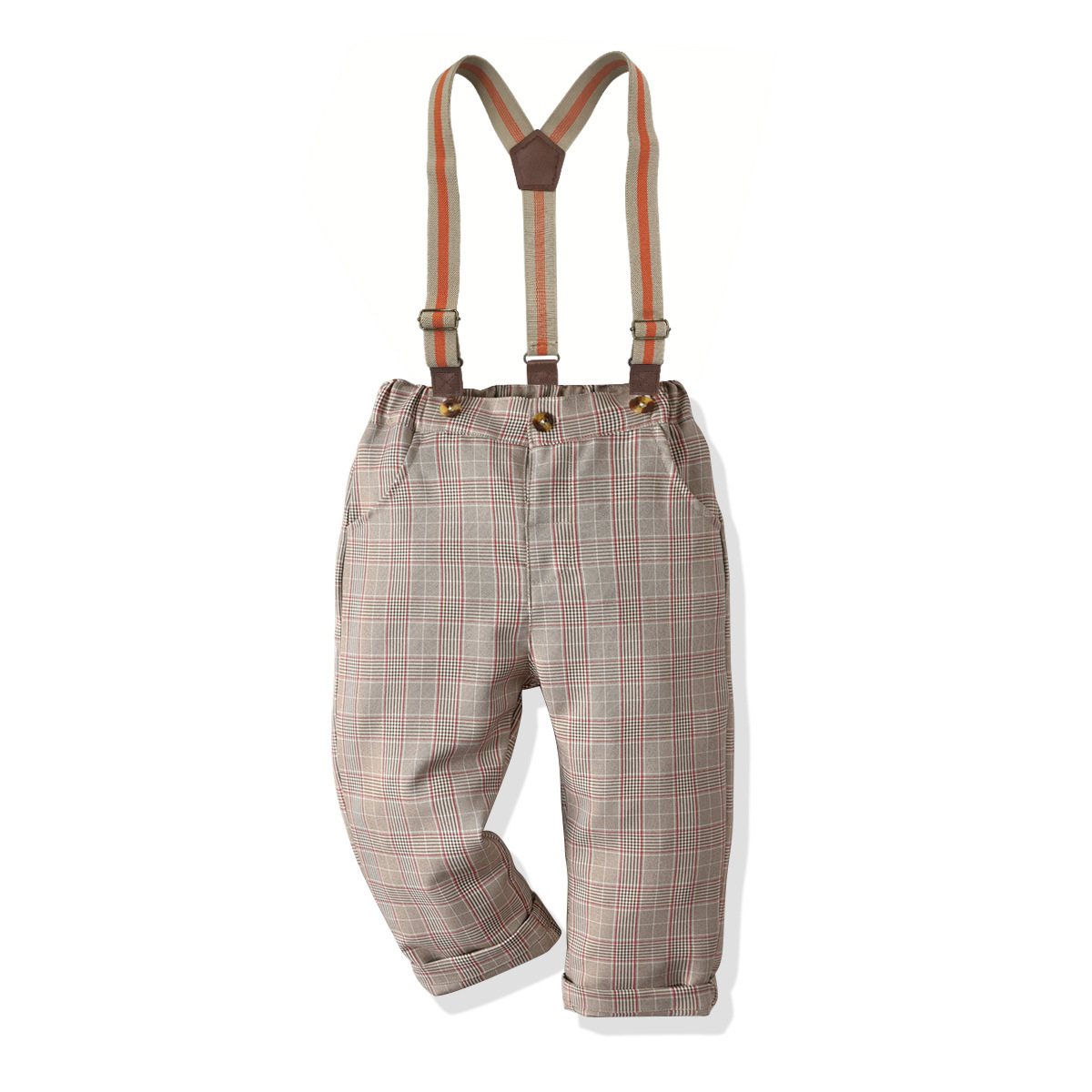 Plaid Suspender Pants