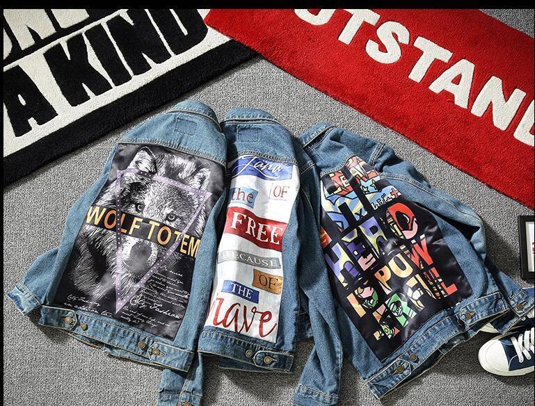 Mens Jean Jackets suprme & apes washed broken denim jacket Hip Hop pablo Irregular Ripped Denim Jacket Men Homme for lovers young