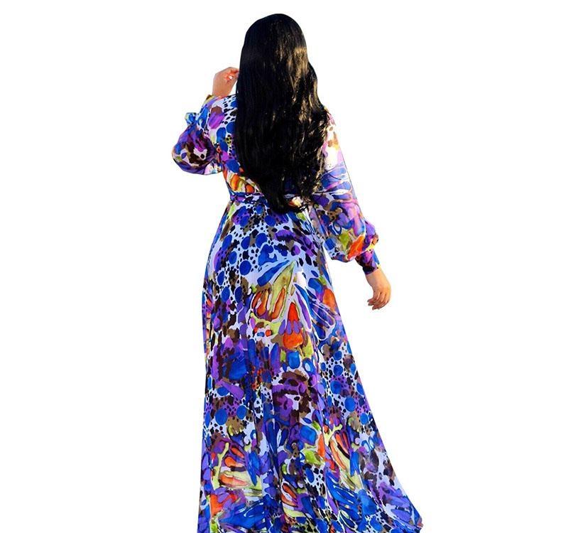 2018 Designer Women Bohemia Dresses Fashion floral print BOHO Maxi Beach Dress Sexy Deep V Long sleeve casual Chiffon party dress