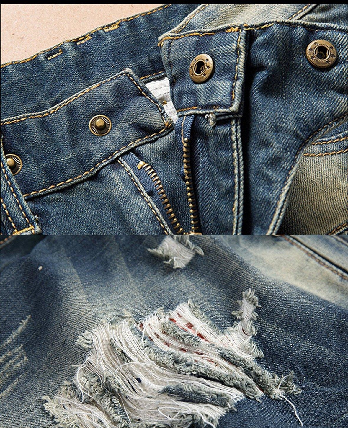Men Distressed Ripped Jeans Fashion Designer Straight Motorcycle Biker Causal Denim Pants Streetwear Style Runway Rock Star Jeans Cool