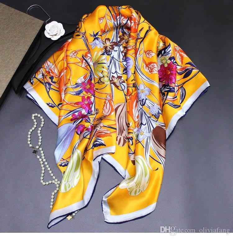 Women Large Silk Scarf Big Size Bird Print Foulard Female Luxury Bright Long Sha