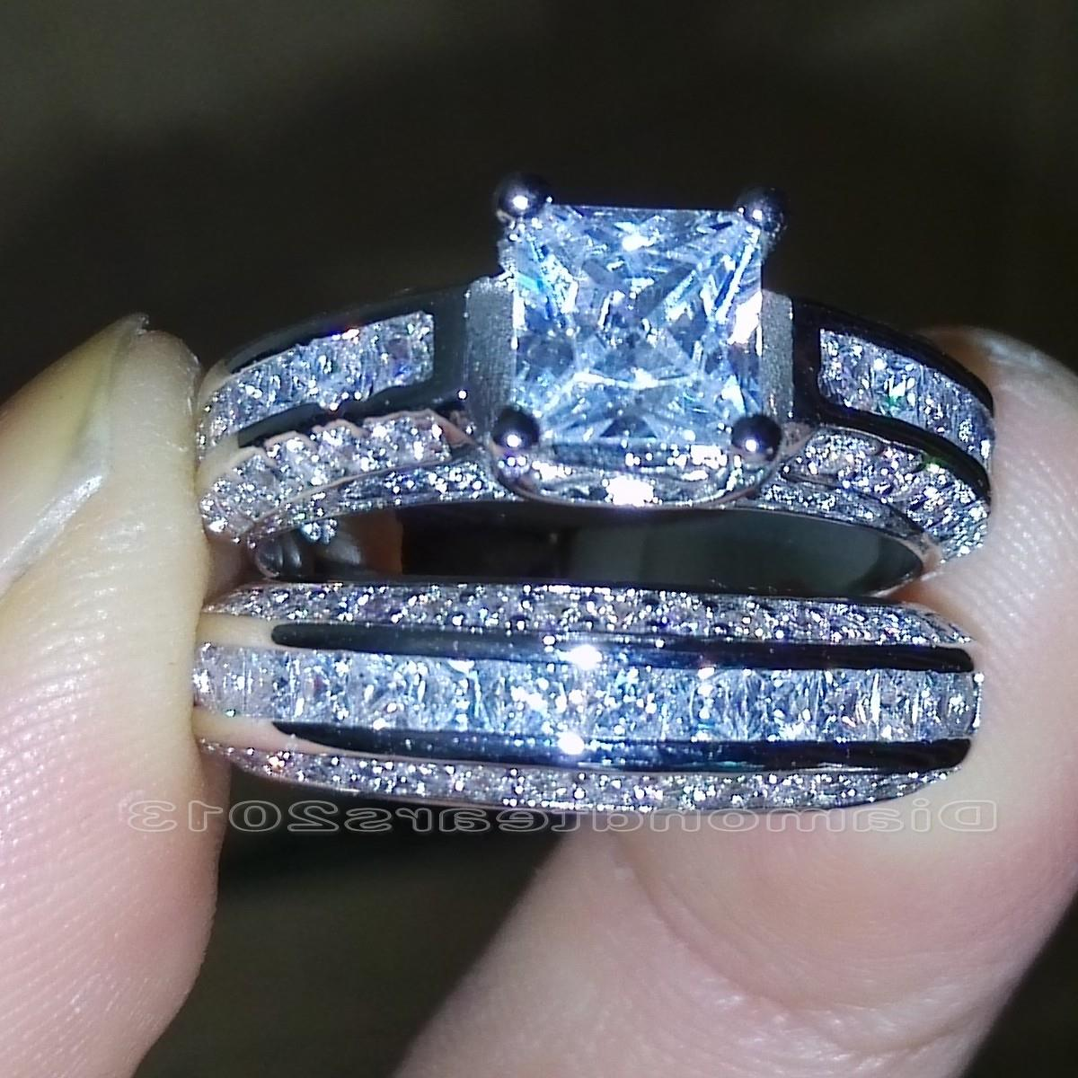 18K Gold Filled White Topaz 925 Silver Jewelry Wedding Engagement Ring Sz 6-10