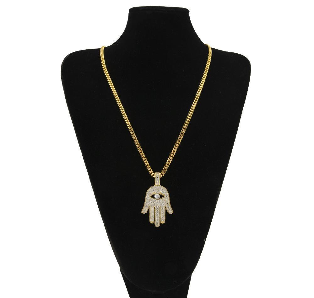 Copper Hamsa Hand Pendant Necklace Micro Pave Cubic Zircon Fatima Palm Necklace Hip Hop Mens Women Jewelry Drop Shipping