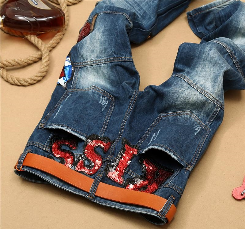New mens straight slim distress jeans boys ripped motorcycle jeans with holes fashion destroyed patchwork denim pants embroidery Size:29-38