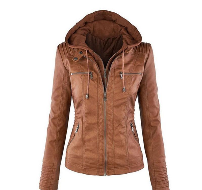 Newest Women`s Winter Leather Jacket Coat Hoodies Hooded Lapel Zipper Detachable Leather Jacket Female jaqueta de cour
